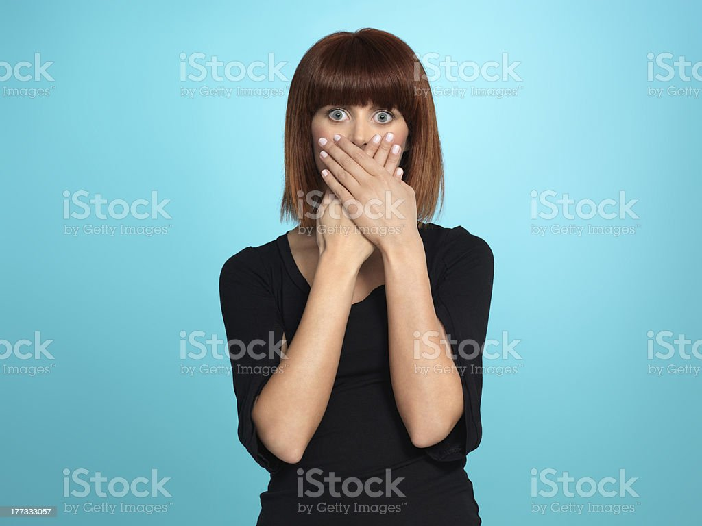 pretty woman with surpised face expression stock photo