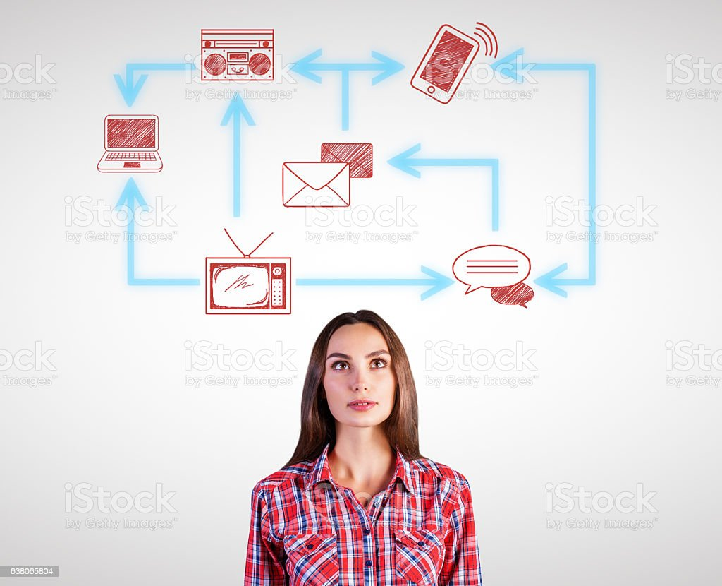 Pretty woman with technology network stock photo