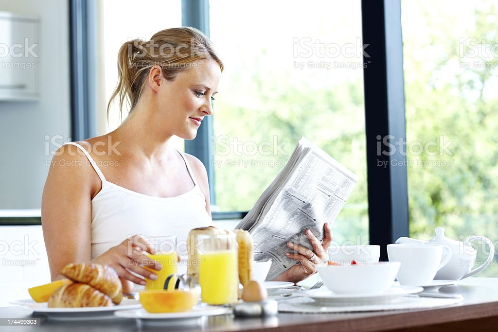 Pretty woman's healthy morning routine royalty-free stock photo