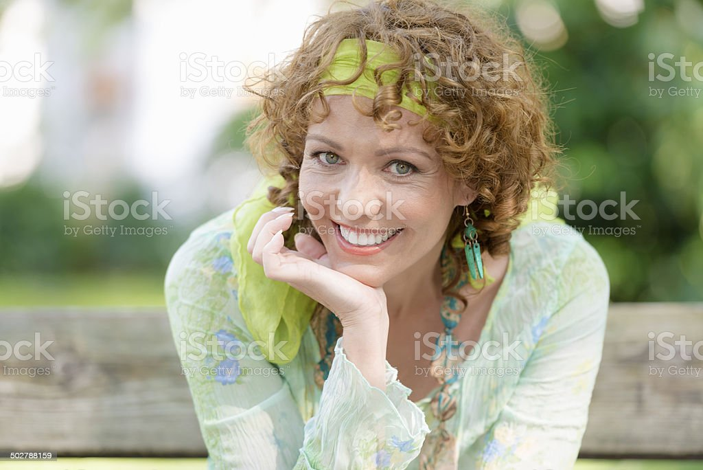 Pretty Woman's Portrait in City Park, Italy, Europe stock photo