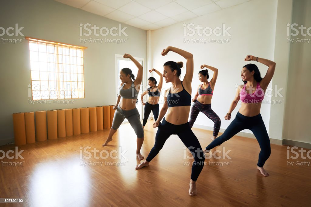 Pretty Women Enjoying Dance Class stock photo