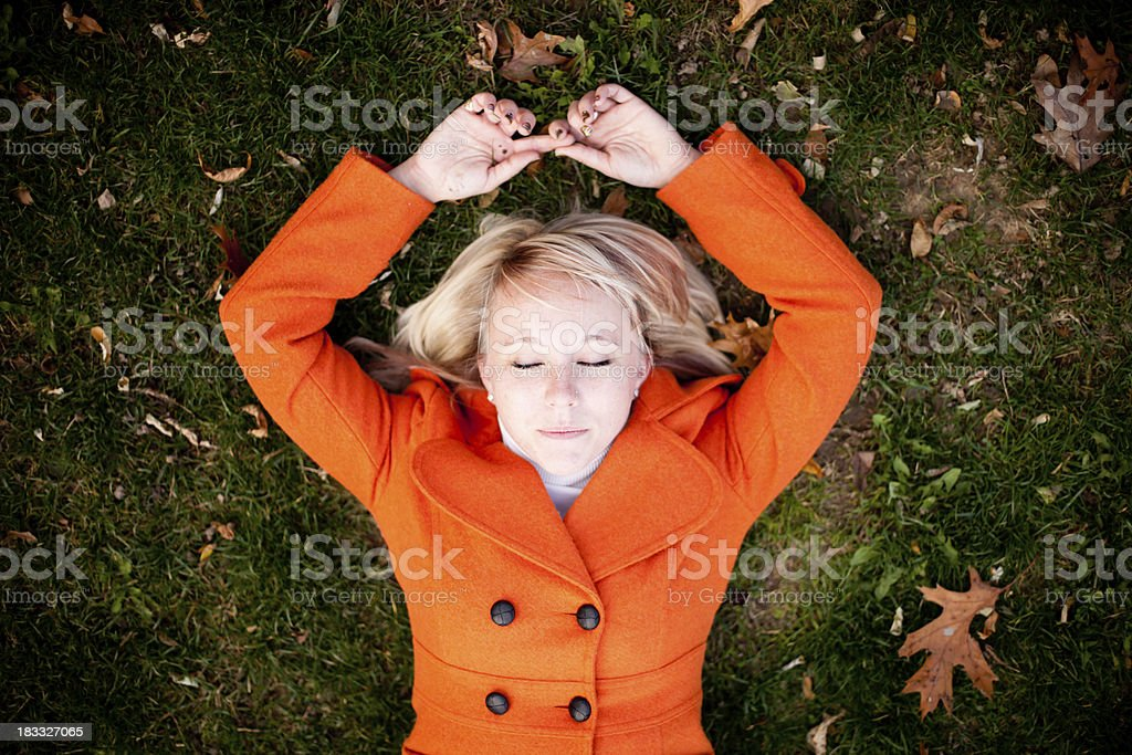 Pretty Women Resting Outdoors stock photo