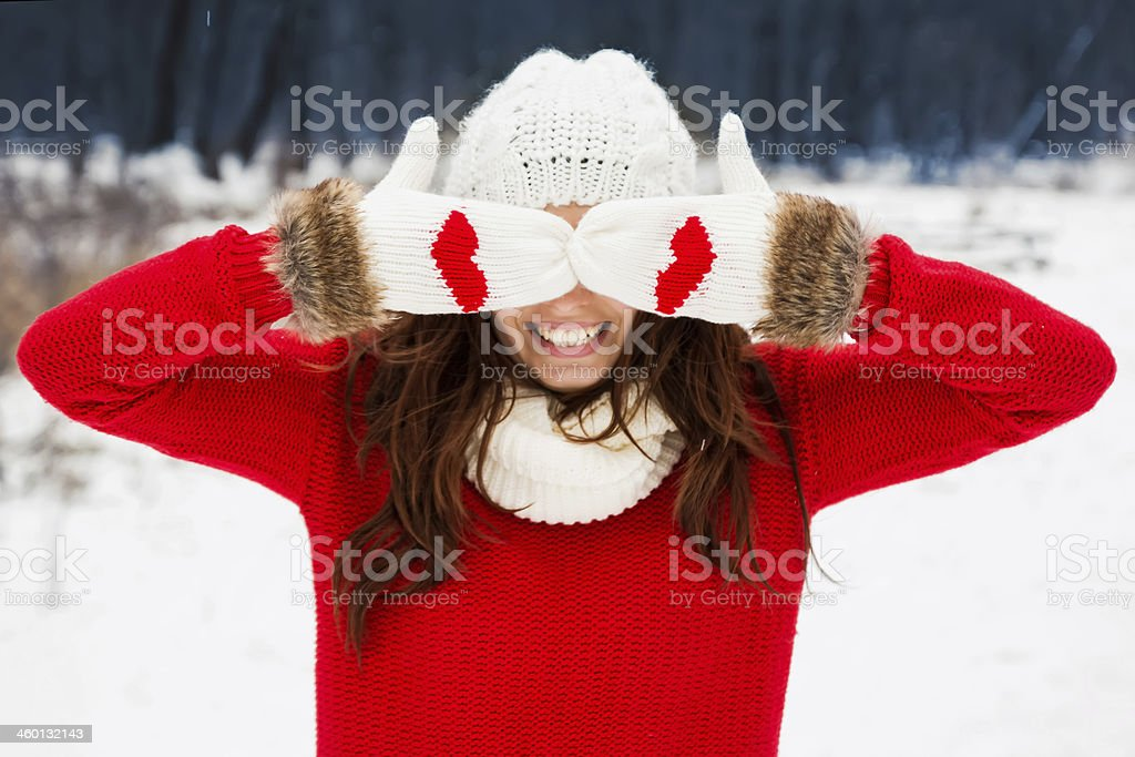 Pretty yong woman in red sweater stock photo