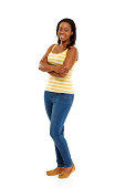 istock Pretty young african woman posing on white 477824935