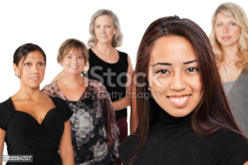 536775759istockphoto Pretty Young Asian Woman In Front of Other Women 183584207