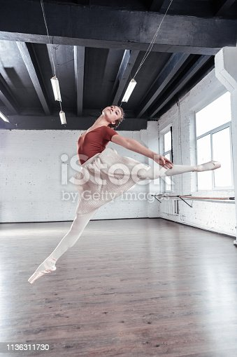 Professional dance. Pretty young ballerina jumping up while showing her talents to you