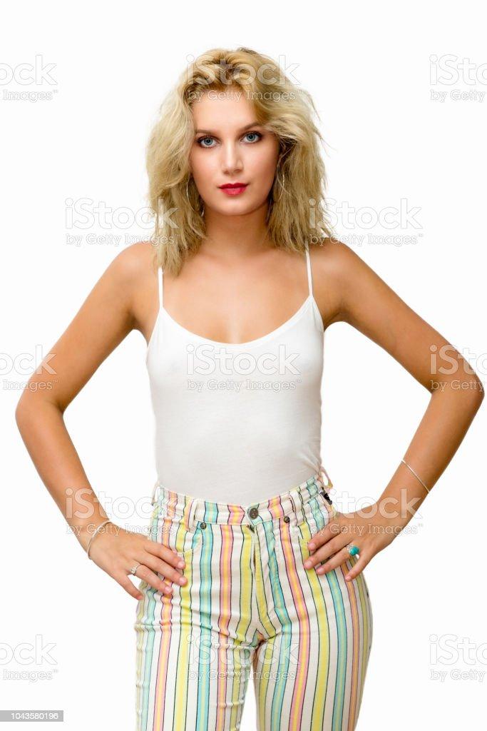 Bastante Joven Mujer Rubia Con Pantalones Ajustados Foto De Stock Y Mas Banco De Imagenes De A La Moda Istock