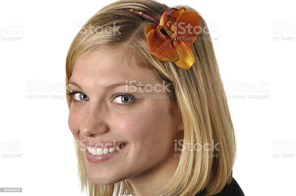 Pretty Young Blonde with Flower Headband royalty-free stock photo