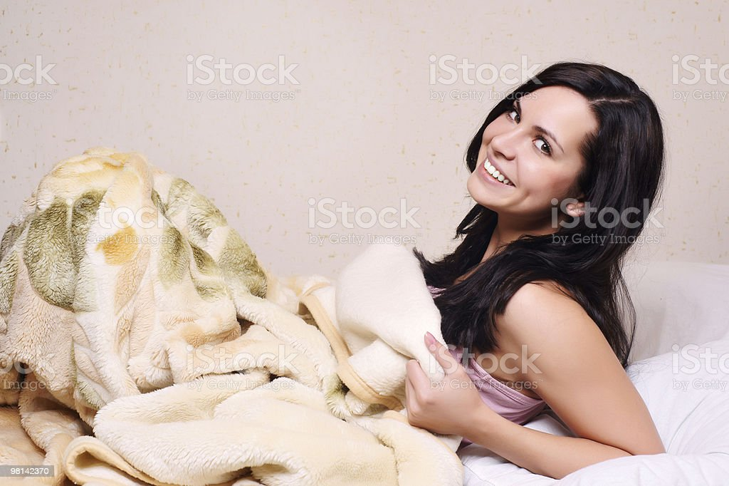 pretty young brunette woman sleeping royalty-free stock photo