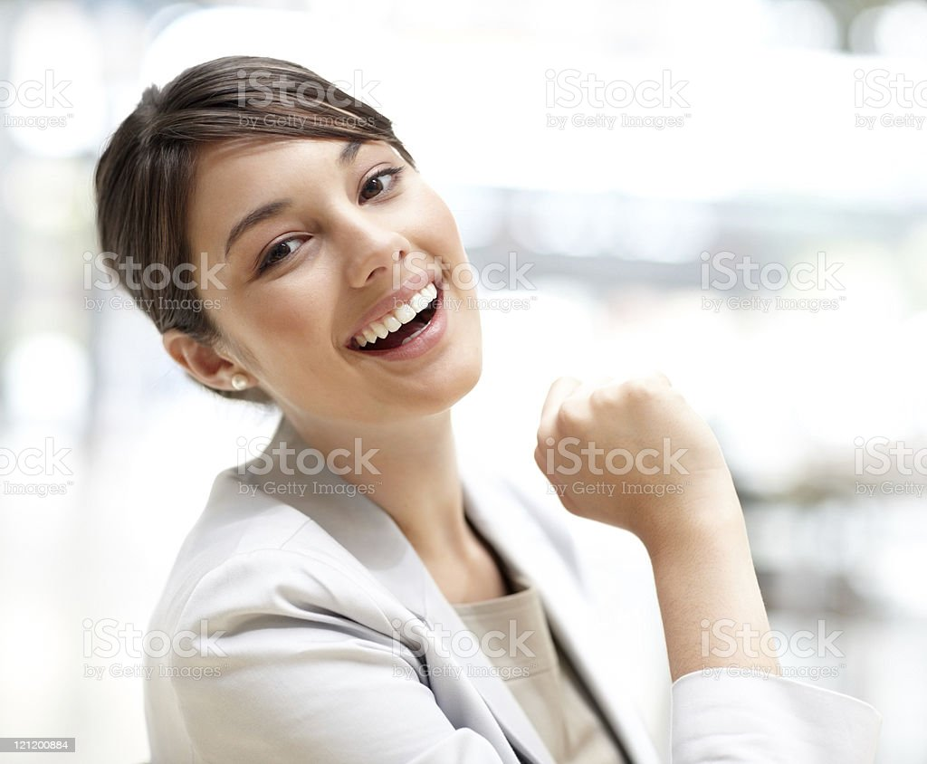 Pretty young business woman smiling royalty-free stock photo