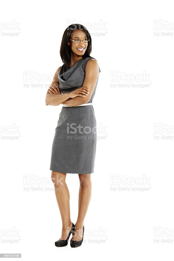 Pretty young businesswoman looking away smiling stock photo