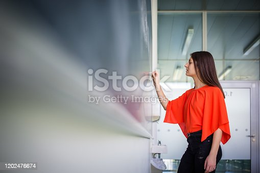 922759140 istock photo Pretty, young college student/young teacher writing on the chalkboard 1202476674