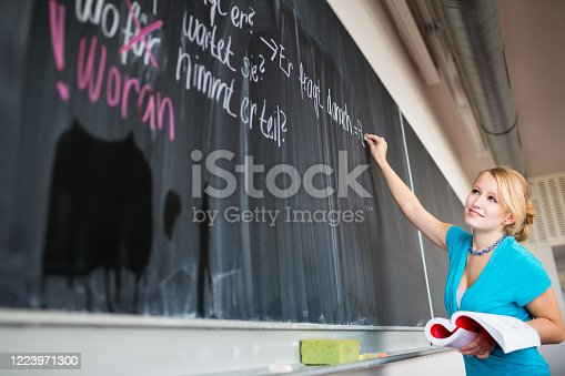922759140 istock photo Pretty, young college/university student writing on the chalkboard/blackboard 1223971300