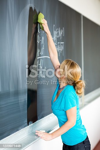 922759140 istock photo Pretty, young college/university student writing on the chalkboard/blackboard 1223971448