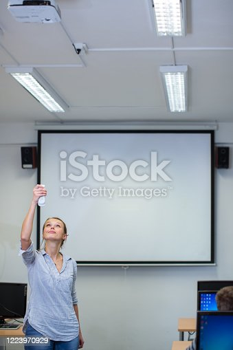 922759140 istock photo Pretty, young female teacher in a classroom 1223970929