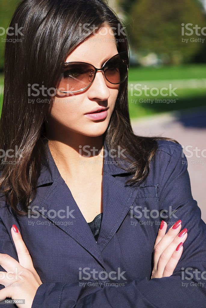 Pretty young girl in a autumn park royalty-free stock photo
