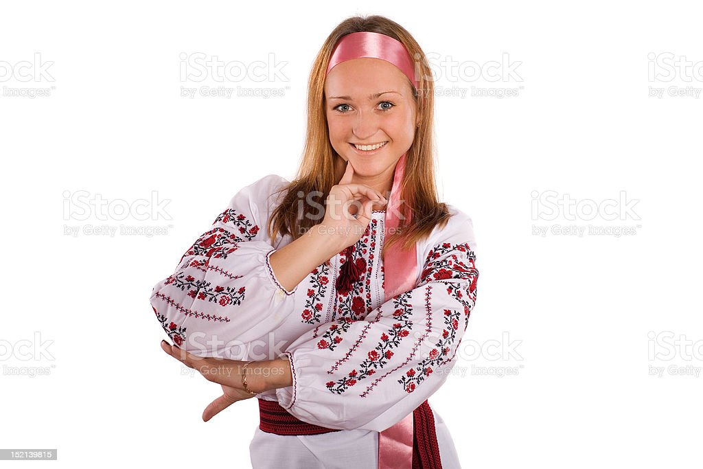 Pretty young girl in a Ukrainian national costume. stock photo