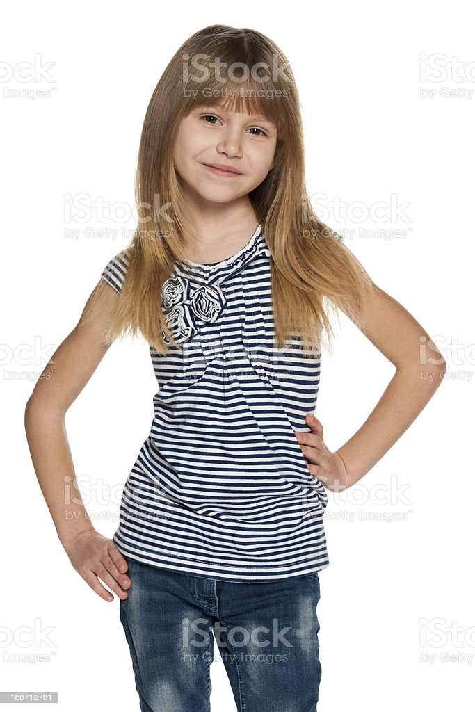 Pretty young girl on the white stock photo