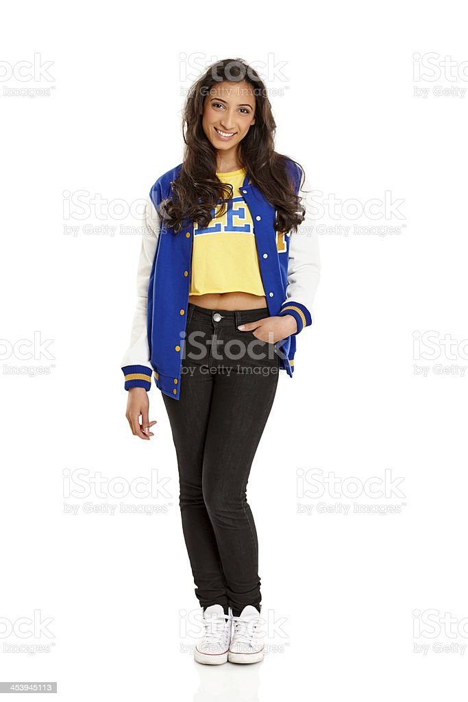 Pretty young girl wearing school jacket royalty-free stock photo