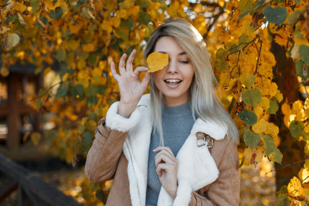 Pretty young happy girl model with blue eyes in a fashion jacket with fur covered her face with a yellow autumn leaf in the gold fall park . Beautiful smiling woman. stock photo