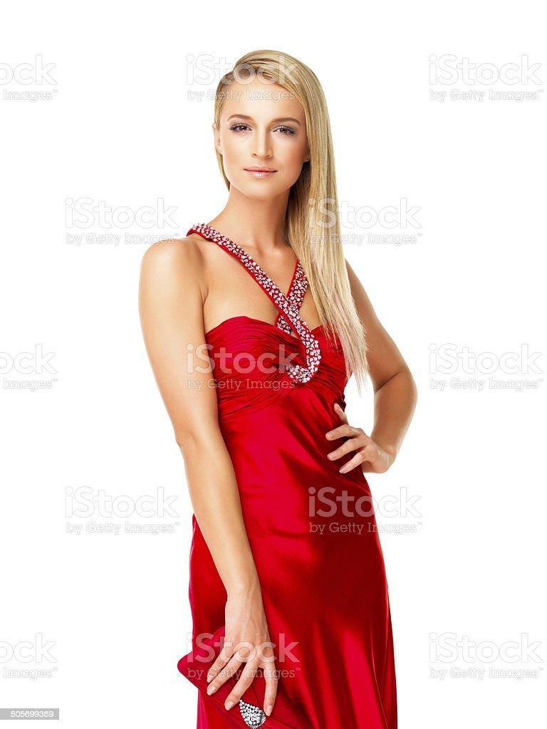 2963439ce2 Bella Giovane Donna Che Indossa Un Abito Da Sera Rosso - Fotografie ...