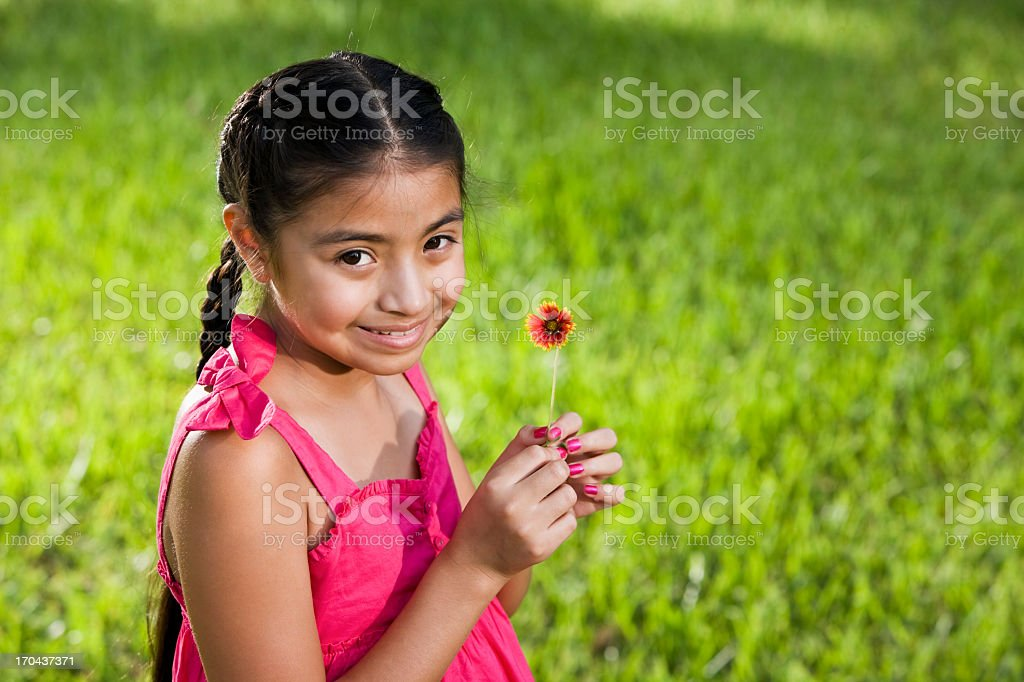 Pretty young Latin girl in pink dress holding flower royalty-free stock photo