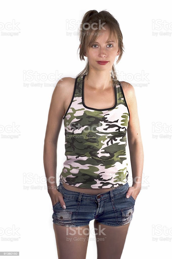 Pretty young military woman stock photo