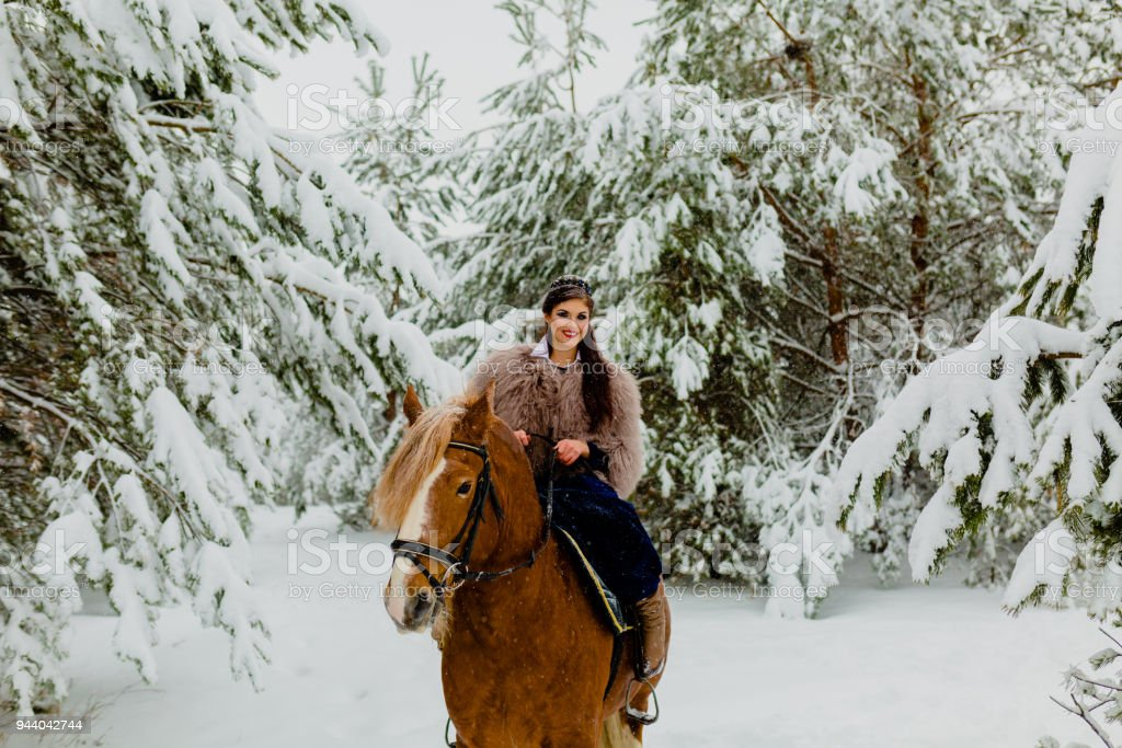 Pretty young model riding the horse stock photo