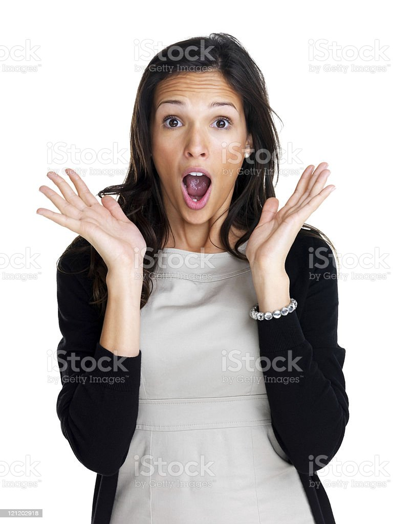 Pretty young surprised woman royalty-free stock photo