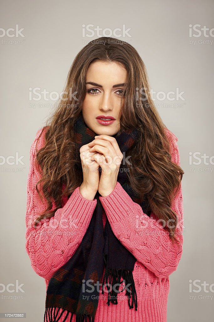 Pretty young woman feeling cold royalty-free stock photo