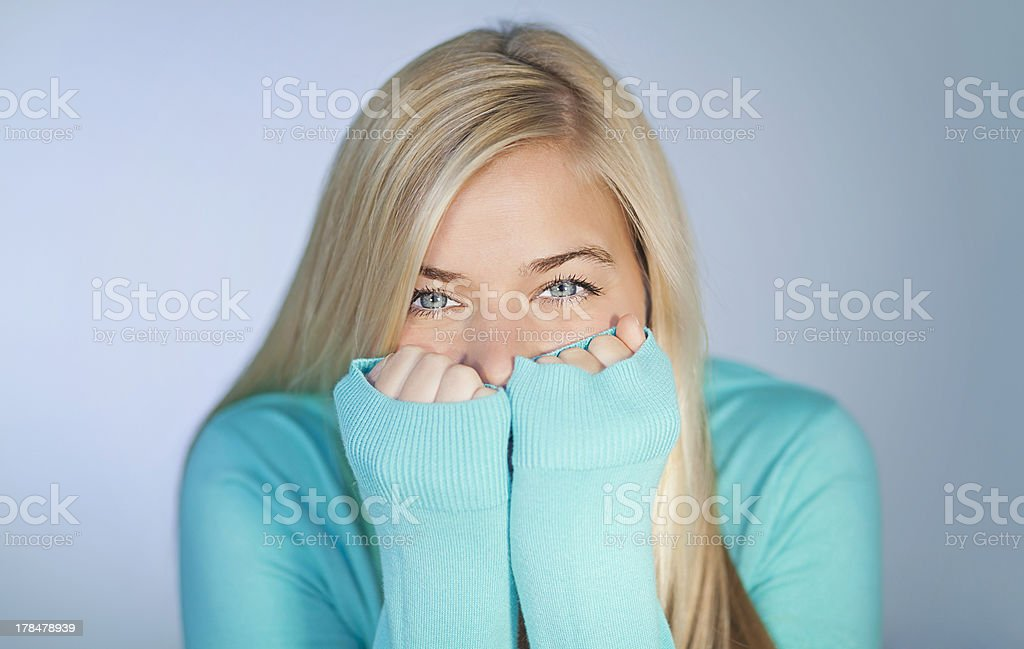 Pretty Young Woman Hiding royalty-free stock photo
