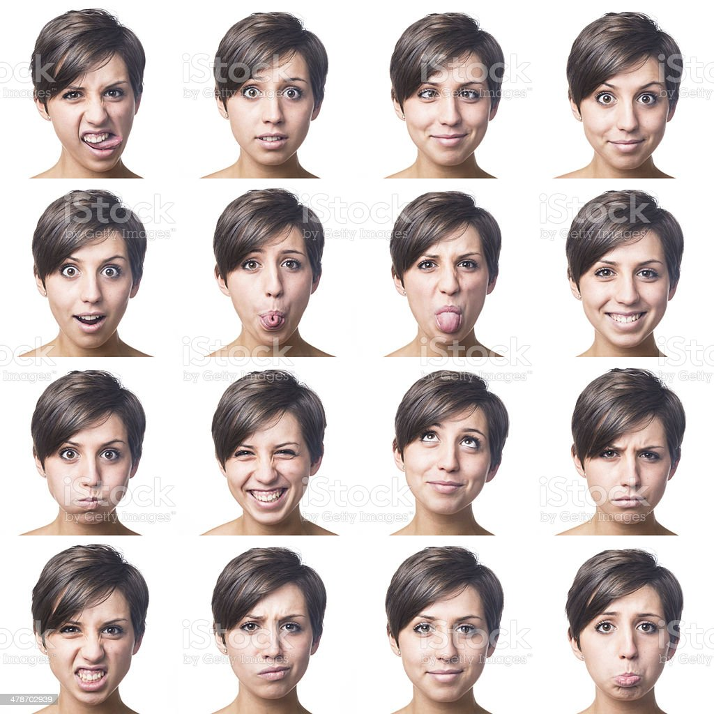 Pretty Young Woman Multiple Portrait stock photo