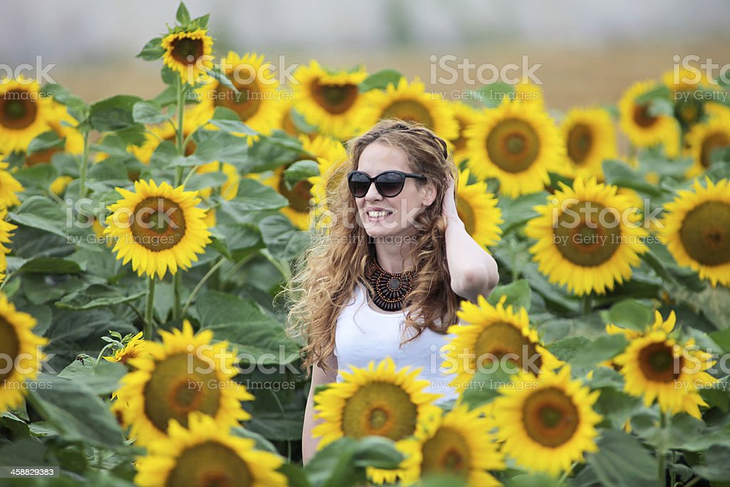 Pretty young  woman on a sunflowers field stock photo
