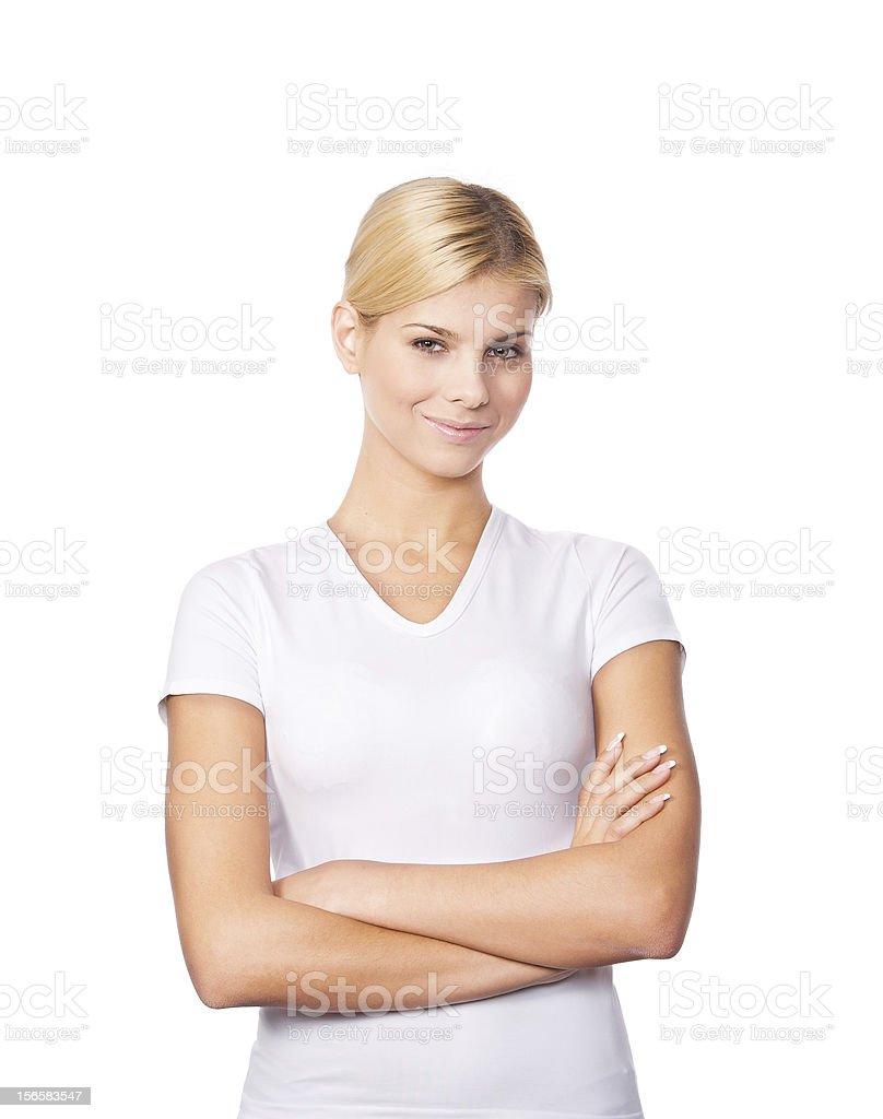 Hübsche Junge Frau auf weißem Hintergrund – Foto