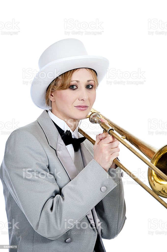 Pretty young woman trombone player royalty-free stock photo