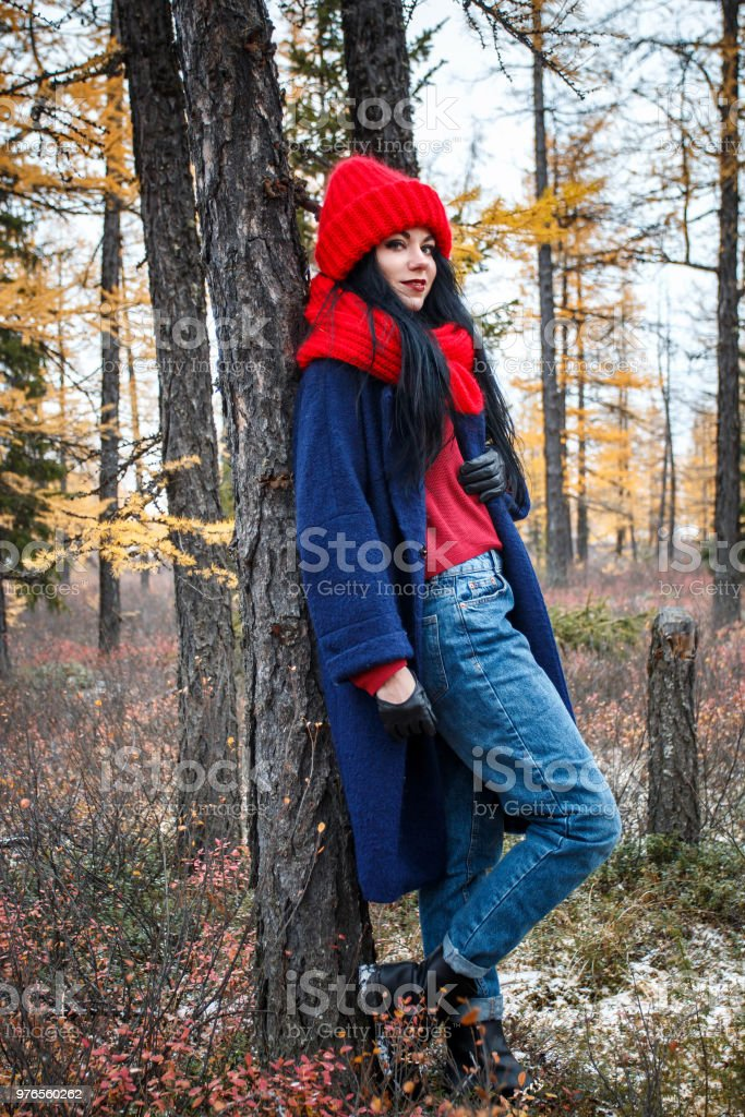 cda4f3799 Pretty Young Woman Walking In The Forest Stock Photo   More Pictures ...