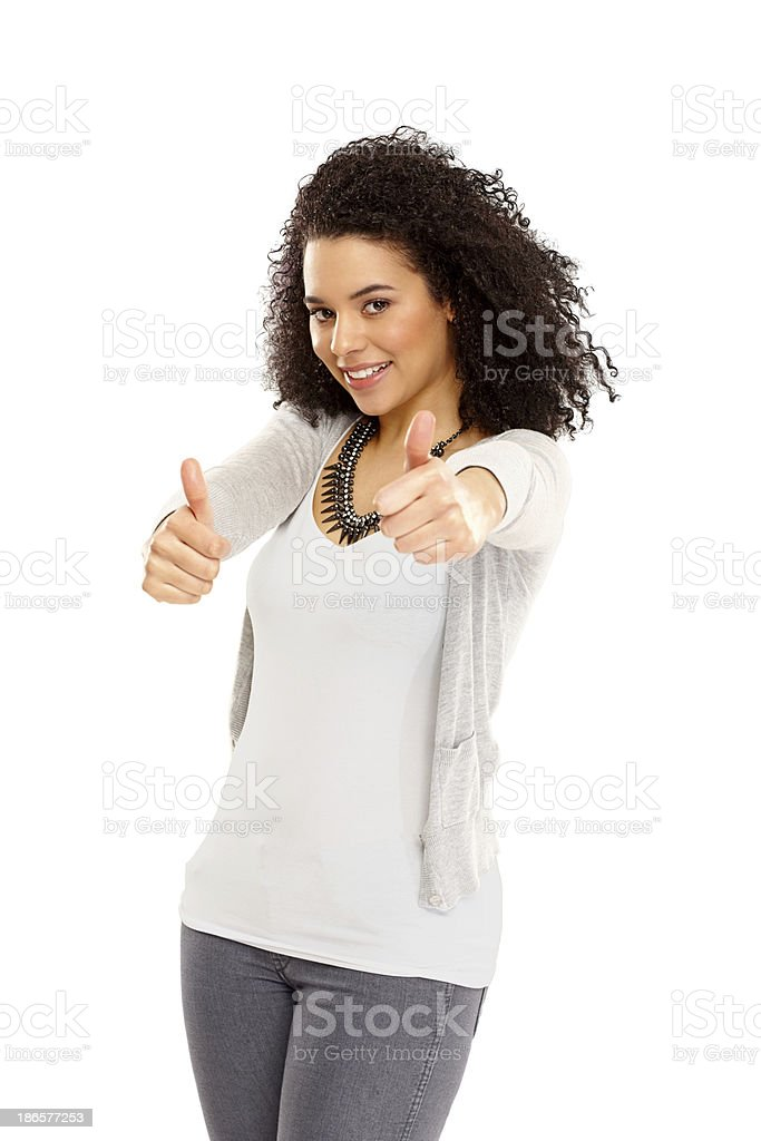 Pretty young woman wishing you good luck royalty-free stock photo