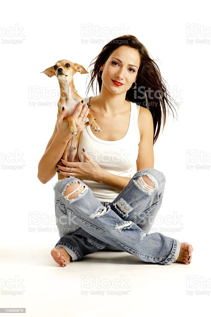 Pretty Young Woman with her lovely chihuahua royalty-free stock photo