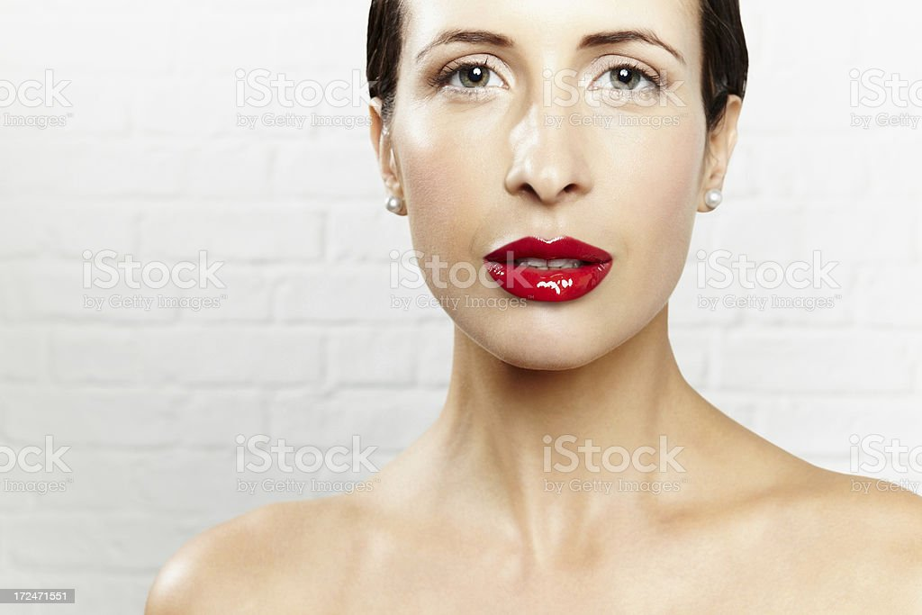 Pretty young woman with juicy lips royalty-free stock photo