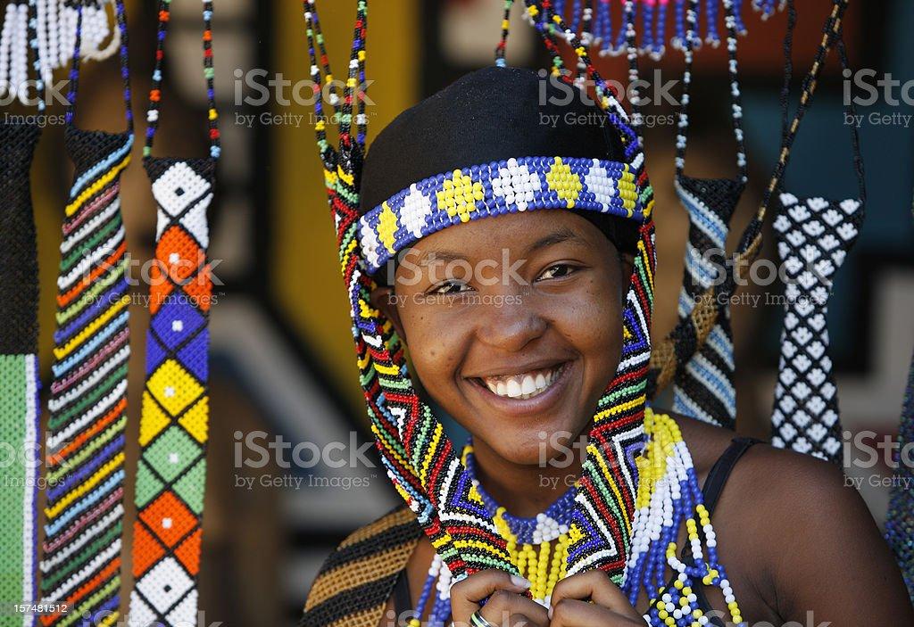Pretty Zulu girl in beads stock photo