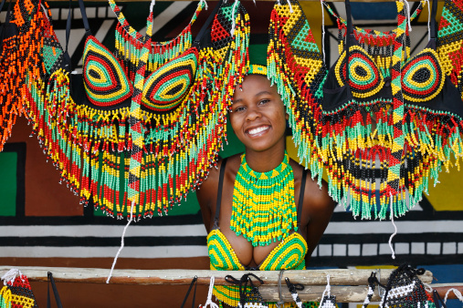 Zulu Woman Wearing Handmade Clothing At Lesedi Cultural