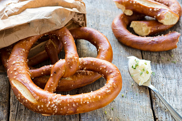 Pretzel and kajamak stock photo