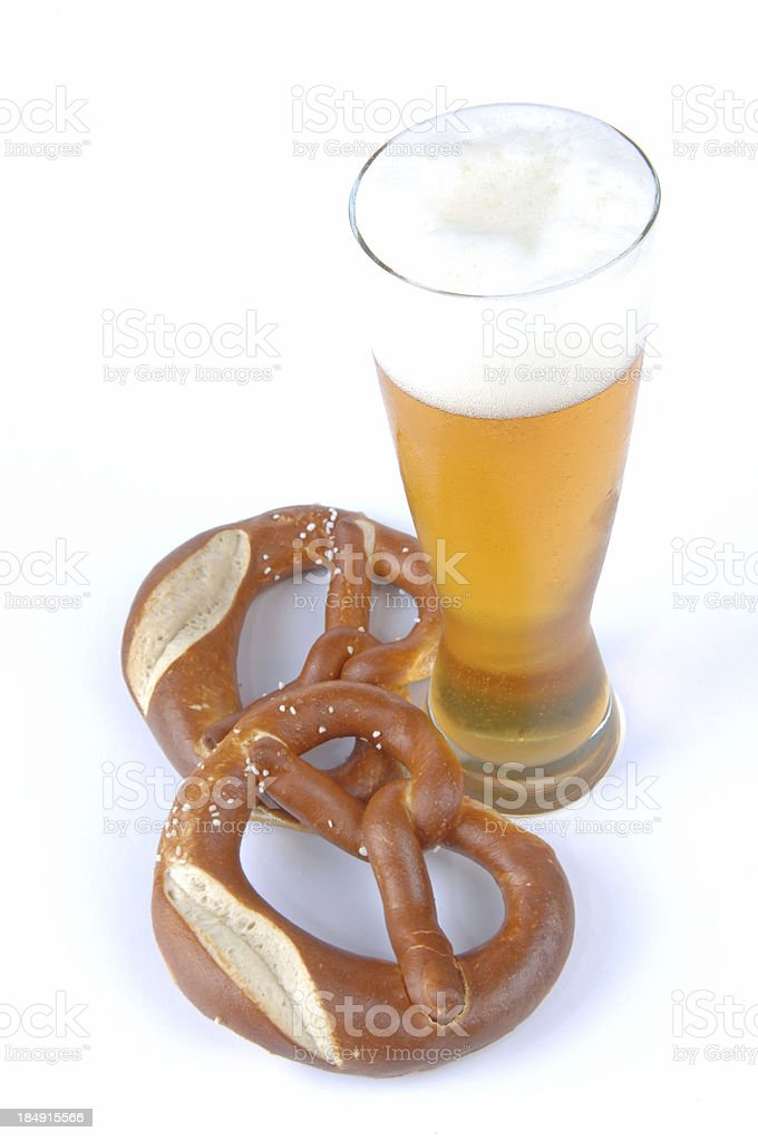 pretzel and wheat beer on the Oktoberfest in Munich royalty-free stock photo