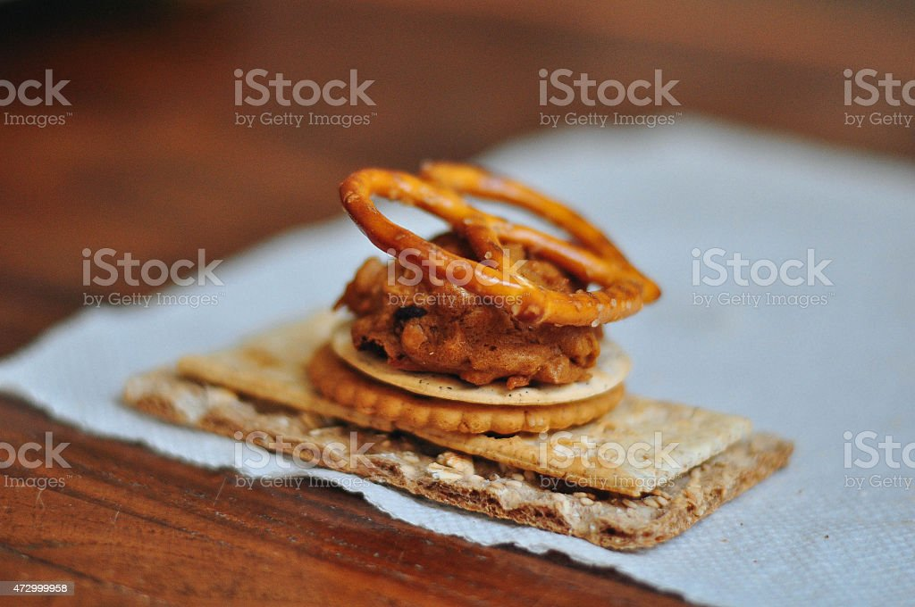 Pretzel, cookie and crackers stock photo