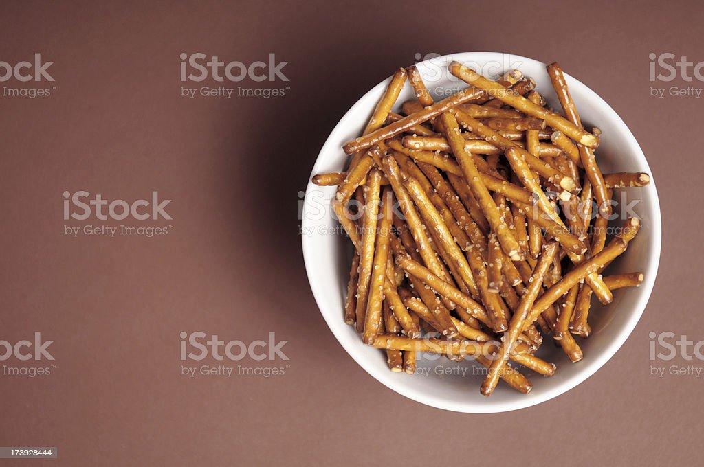 Pretzel Sticks in a Bowl stock photo