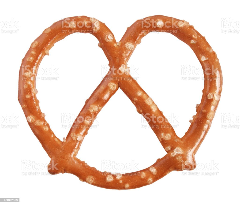 Pretzel with salt flakes isolated on white royalty-free stock photo