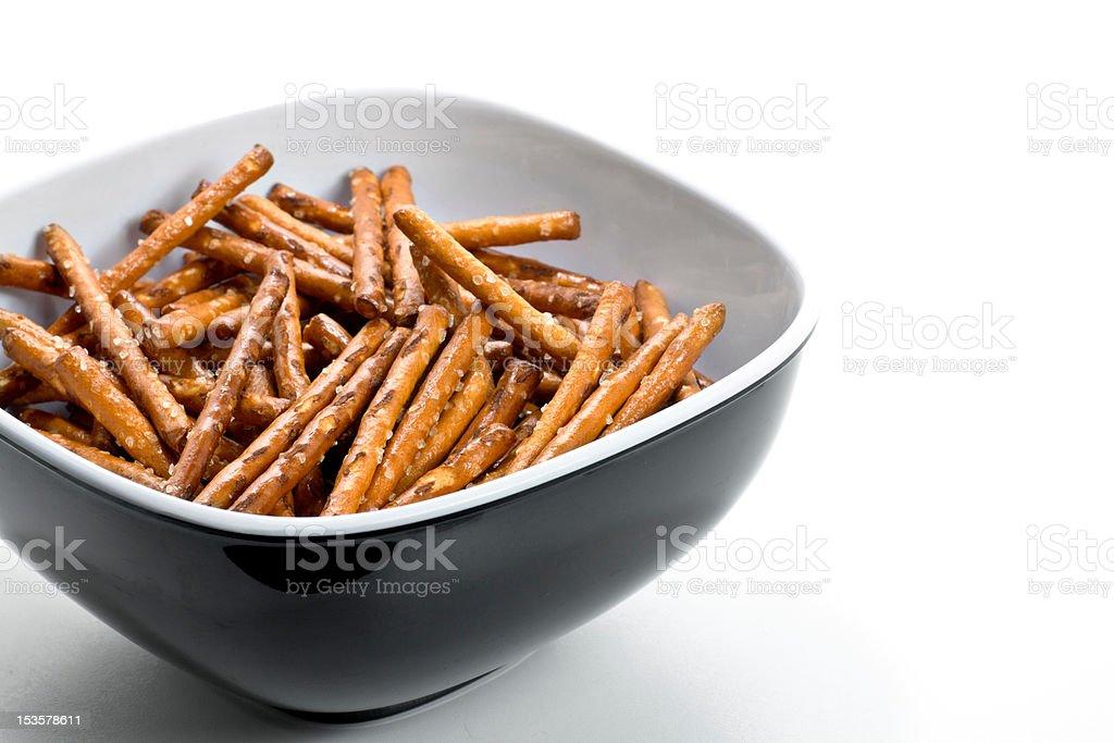 Pretzels in a bowl stock photo