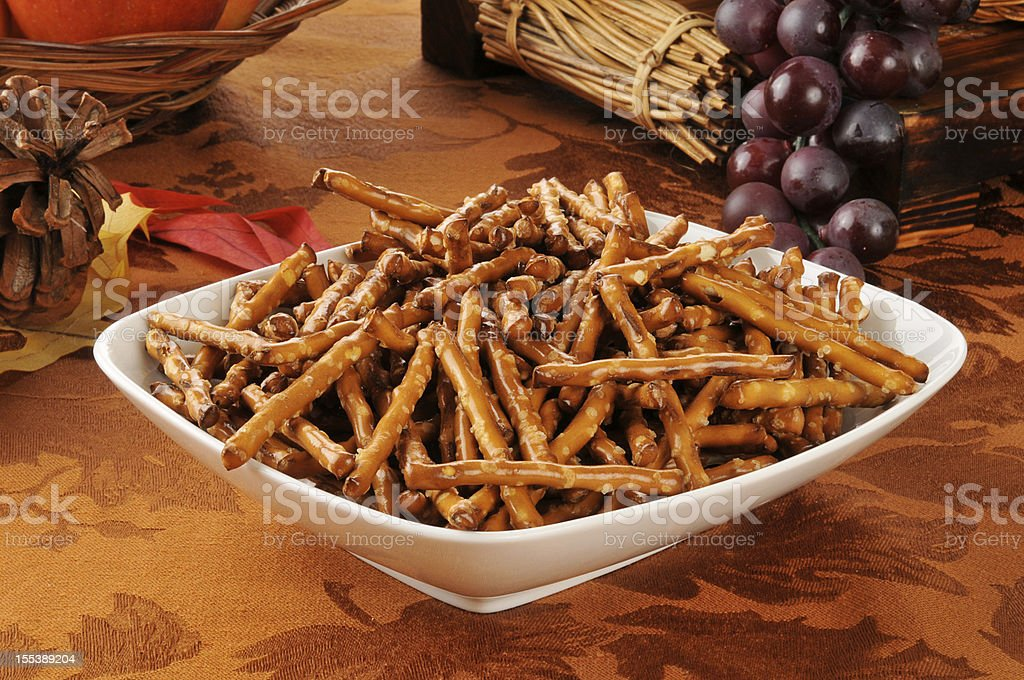 Pretzels on a holiday table stock photo