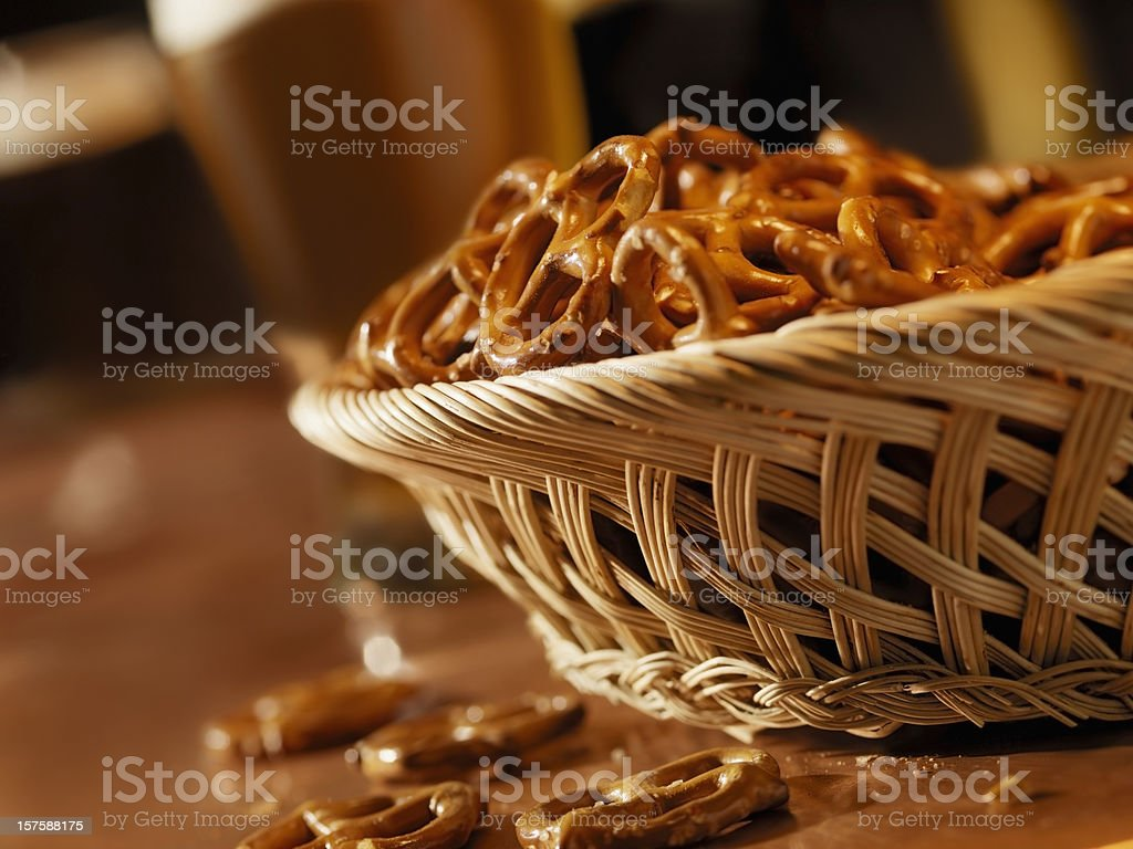 Pretzels with Pints of Beer royalty-free stock photo