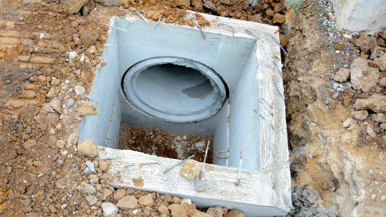 the concrete drainage tank on construction site